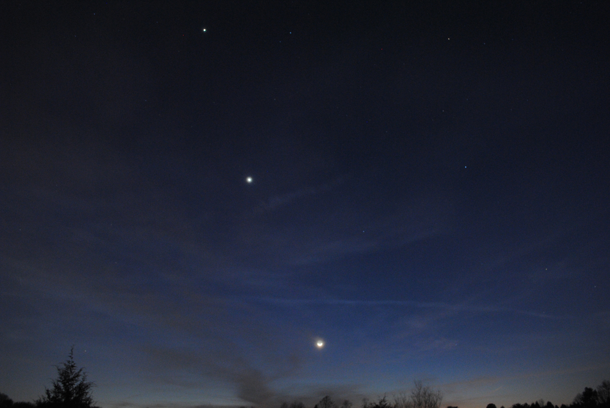 The Moon, Venus and Jupiter over Mooresville, NC #3