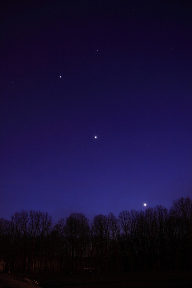 The Moon, Venus and Jupiter over Denville, NJ