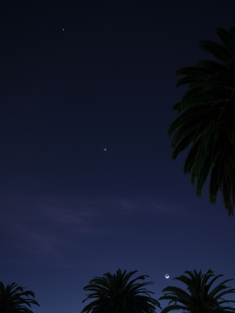 The Moon, Venus and Jupiter over Los Angeles