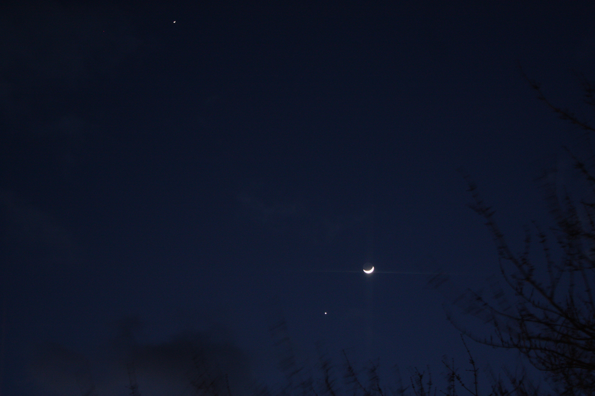 Jupiter, Venus and the Moon Seen from Denver, PA