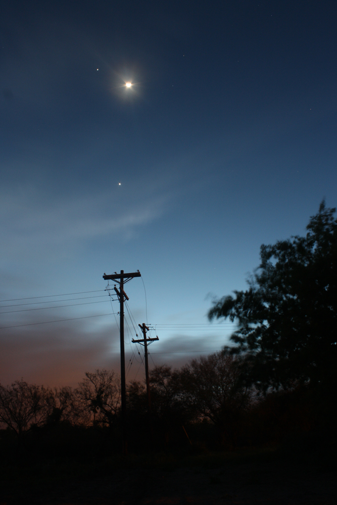 Moon, Jupiter, and Venus over Harlingen, TX