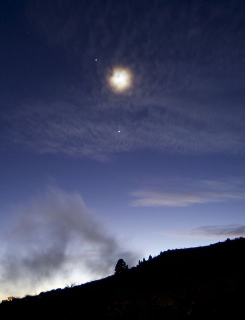 Jupiter, Venus and the Moon over Teide National Park, Canary Islands