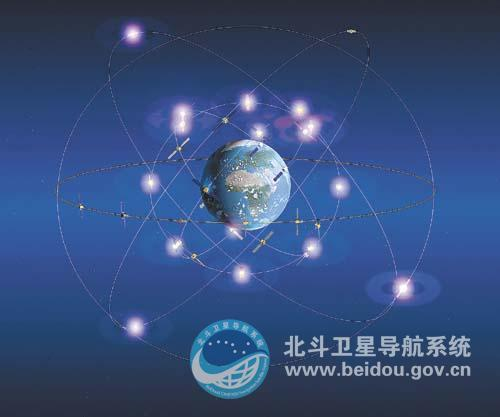 Artist's illustration of China's Beidou navigation satellite constellation in orbit.