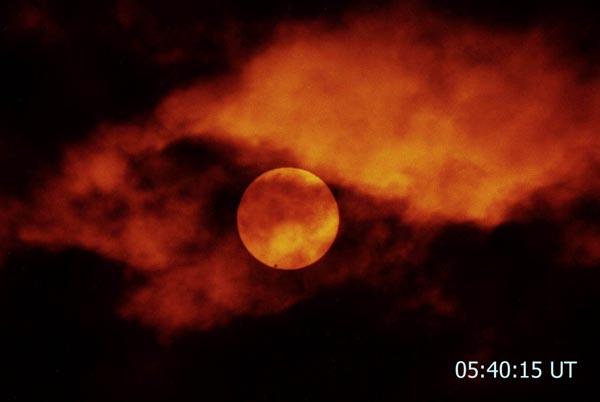 Venus Transit Through Clouds