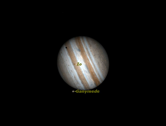 Two of Jupiter's moons cross Jupiter's disk in March 2012.