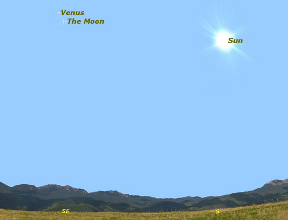 Venus will be visible just above the Moon during daylight hours on March 26, 2012..