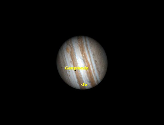 Observers in western North America will see two of Jupiter's moons cross the planet's face, followed by Io's shadow and the Great Red Spot at the end of March 2012.