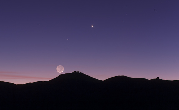 The crescent moon and earthshine over the European Southern Observatory's Paranal Observatory. This picture was taken on 27 October 2011 and also records the planets Mercury and Venus.