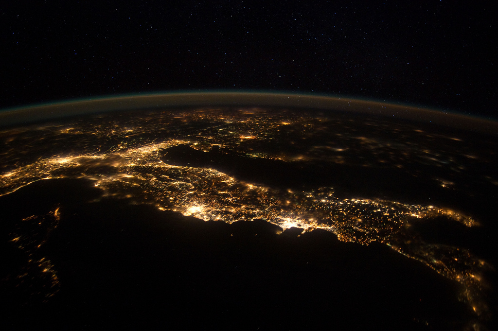 Italy Sparkles in Dazzling Nighttime Photo From Space