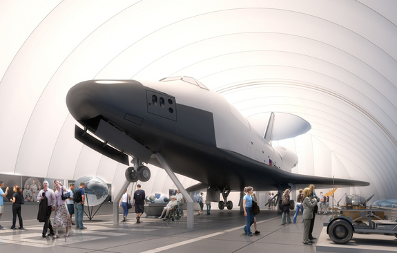 Conceptual rendering of space shuttle Enterprise as it will be displayed on the flight deck of the Intrepid Sea, Air & Space Museum in the summer of 2012.