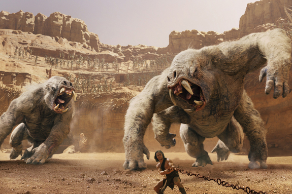White Apes pursue John Carter (Taylor Kitsch, center), in the movie named after the hero which opens March 9,. 2012.