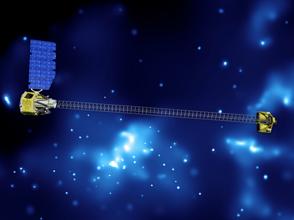 Artist's concept of NuSTAR on orbit. NuSTAR has two identical optics modules in order to increase sensitivity. The background is an image of the galactic center obtained with the Chandra X-ray Observatory.
