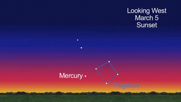 This still from a NASA video shows the location of planet Mercury in the night sky just after sunset on March 5, 2012.
