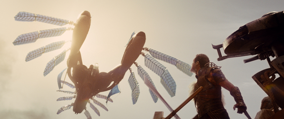 "An airship flies overhead in ""John Carter,"" a new movie opening March 9, 2012."