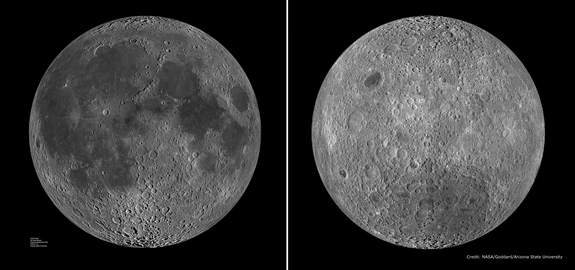 The moon's near side (left) is covered with dark splotches of lunar maria that look like a man's face when seen from Earth. The moon's far side (right), with its many craters and elevated topography, looks quite different.