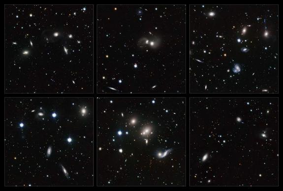 These highlights of the young Hercules galaxy cluster show a wide variety of interacting galaxies. The numerous interactions, and the large number of gas-rich, star-forming spiral galaxies in the cluster, make the members of the Hercules cluster look like the young galaxies of the more distant universe.