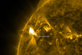 This image from NASA's Solar Dynamics Observatory shows the sun as it appeared in extreme ultraviolet wavelengths on March 5, 2012 just after a major solar flare.