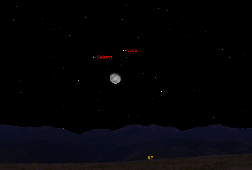 Weekend Skywatching: Saturn Forms Triangle with Moon and Bright Star