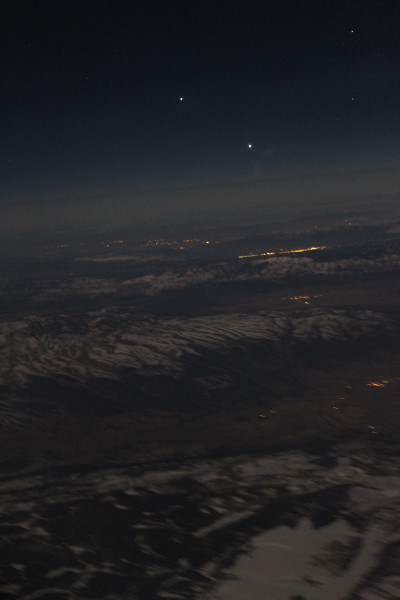 Venus and Jupiter Seen From an Airplane