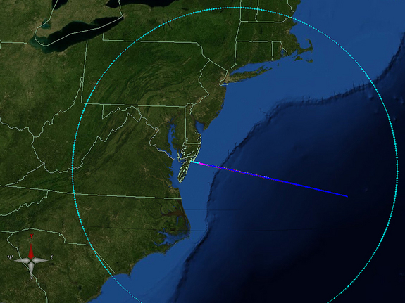 This map shows the projected area in which the chemical tracers released by the ATREX rockets may be visible to the public. The clouds formed by the chemical tracers may be visible from the North Carolina/South Carolina border up to southern Vermont and New Hampshire and west to central West Virginia. Viewing is dependent on lighting in the area in which you are viewing, cloud cover and also the trajectory of the rocket.