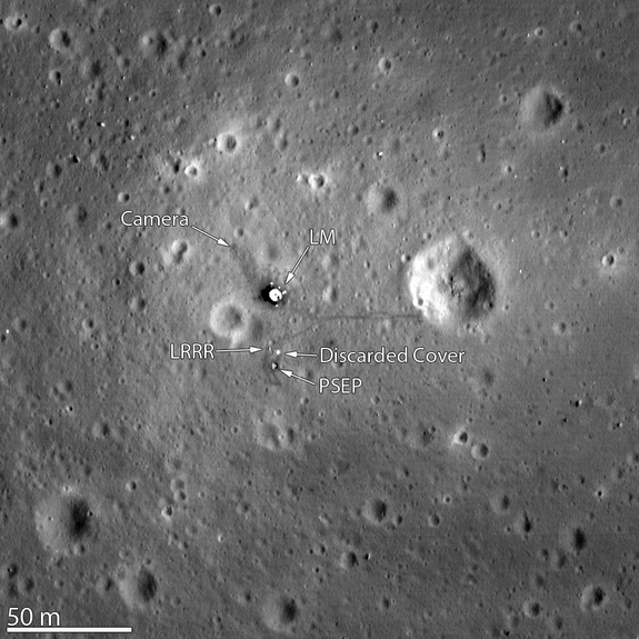 The Lunar Reconnaissance Orbiter Camera snapped its best look yet of the Apollo 11 landing site on the moon. The image, which was released on March 7, 2012, even shows the remnants of Neil Armstrong and Buzz Aldrin's historic first steps on the surface around the Lunar Module.
