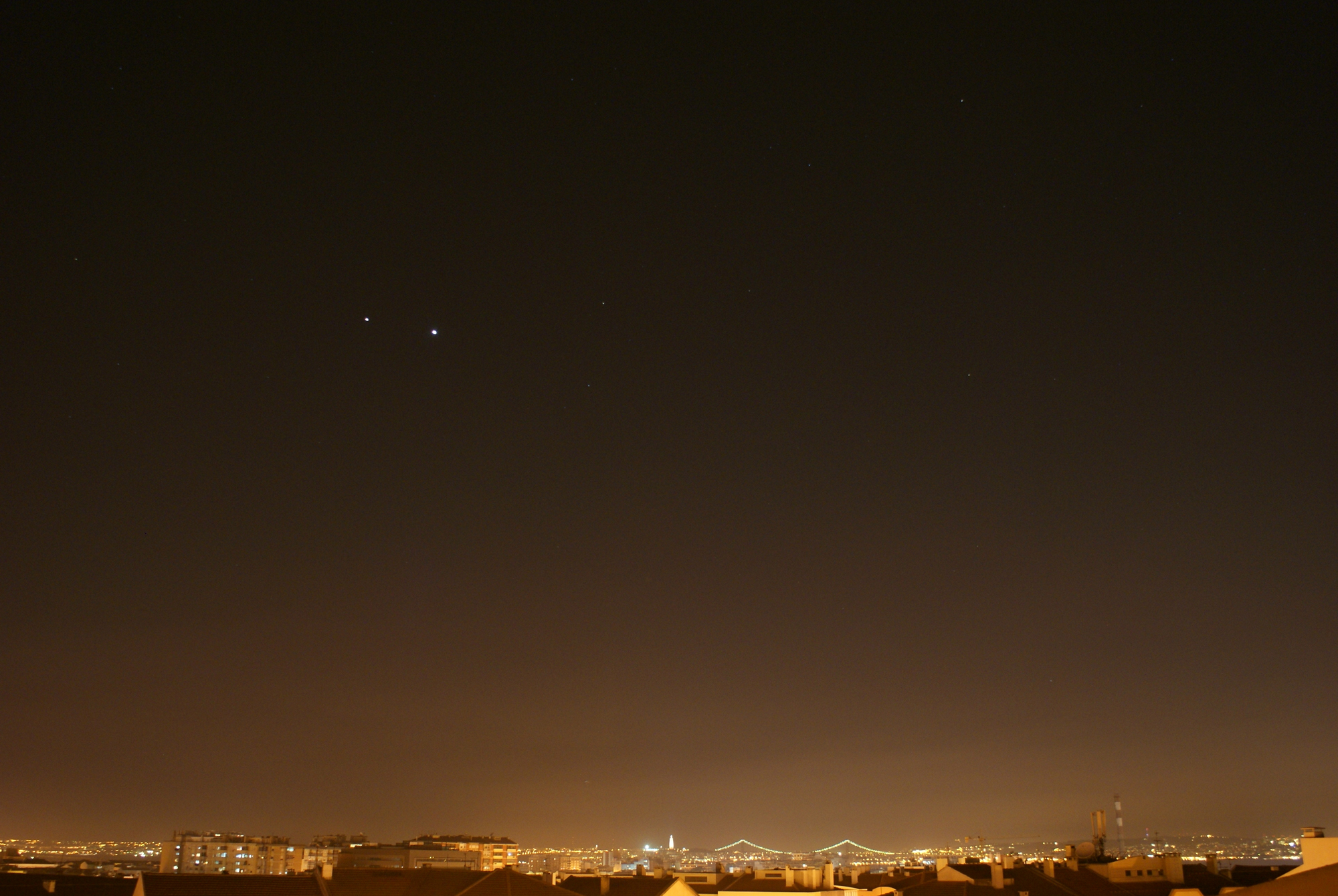 Venus and Jupiter Seen Near Lisbon, Portugal