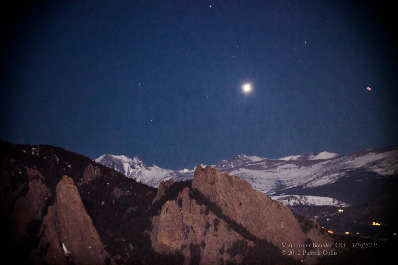 Venus in the Skies Over Colorado's Flatiron Mountains