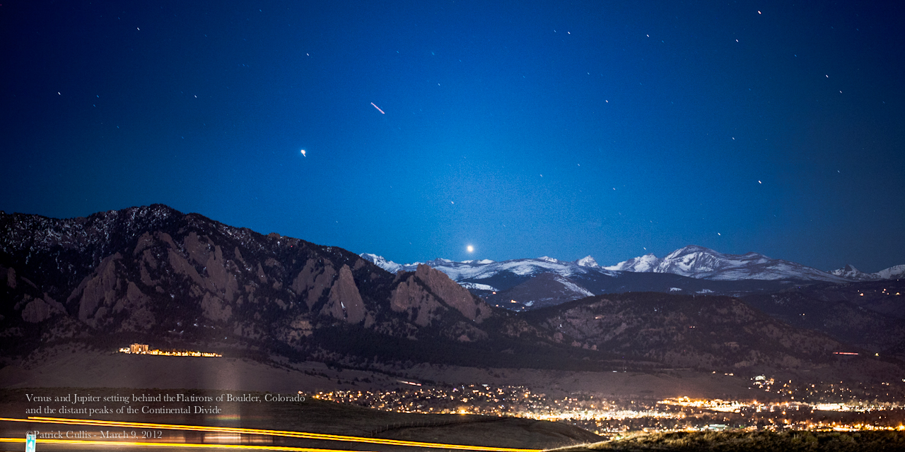 Jupiter and Venus Above Colorado's Flatiron Mountains