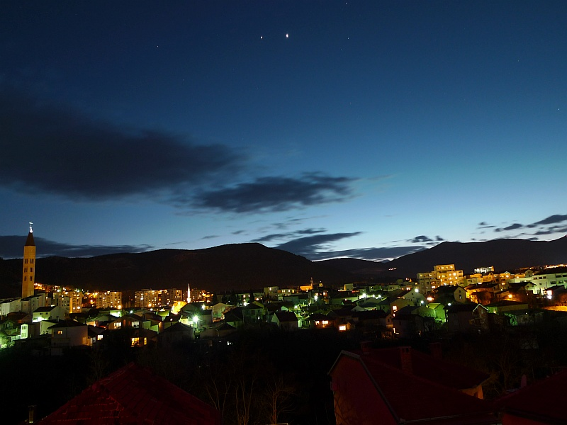 Venus and Jupiter Shine Above Mostar, Bosnia-Herzegovina