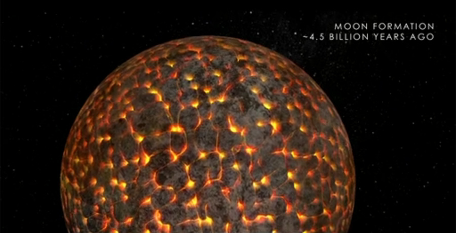 This illustration shows the still-molten moon just after its formation about 4.5 billion years ago.