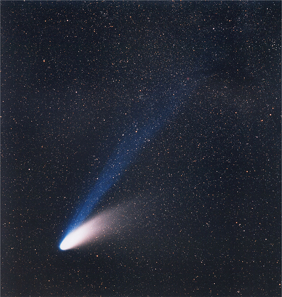 Comet C/1995 O1 Hale–Bopp, which shone in the night sky in 1997. Long period comets such as Hale-Bopp were once deemed to be the primary impact hazard to Earth.