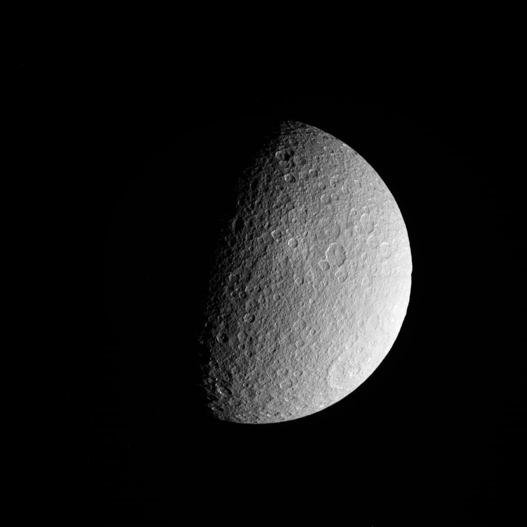 Saturn's Icy Moon Rhea Shines in New NASA Photos