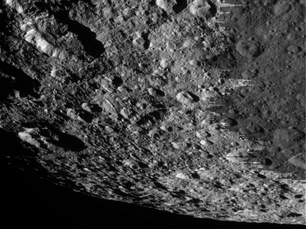 Closeup of Saturn Moon Rhea's Battered Surface