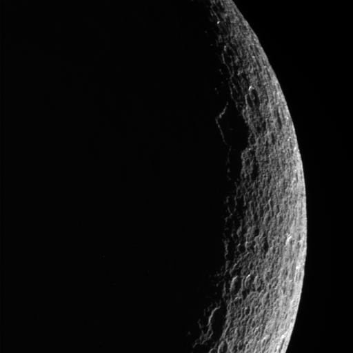 Saturn Moon Rhea in Shadow