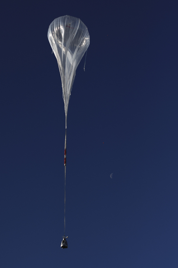 The balloon ascends during the first manned test flight for Red Bull Stratos in Roswell, New Mexico on March 15, 2012.