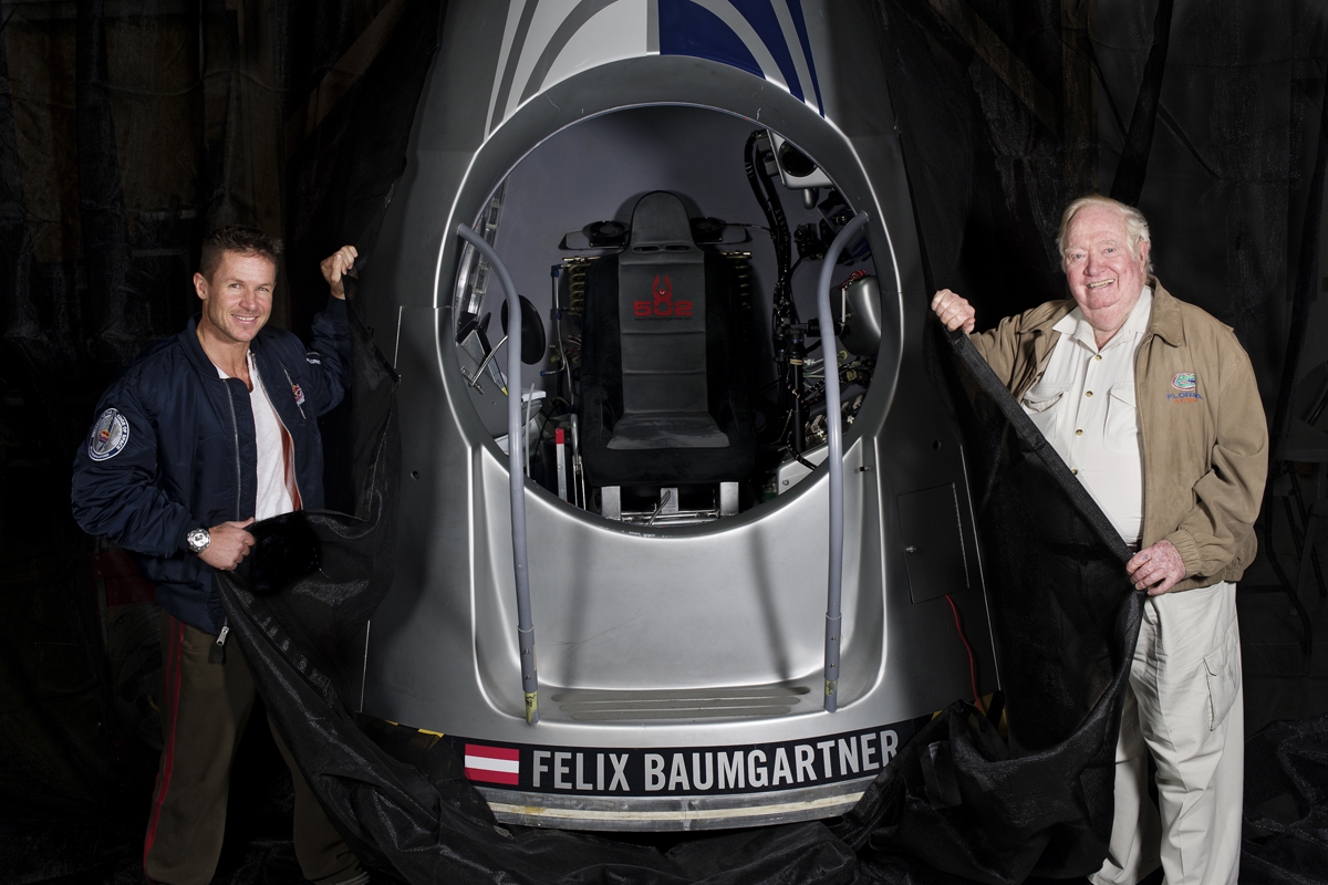 Baumgartner and Kittinger Present Red Bull Stratos Capsule