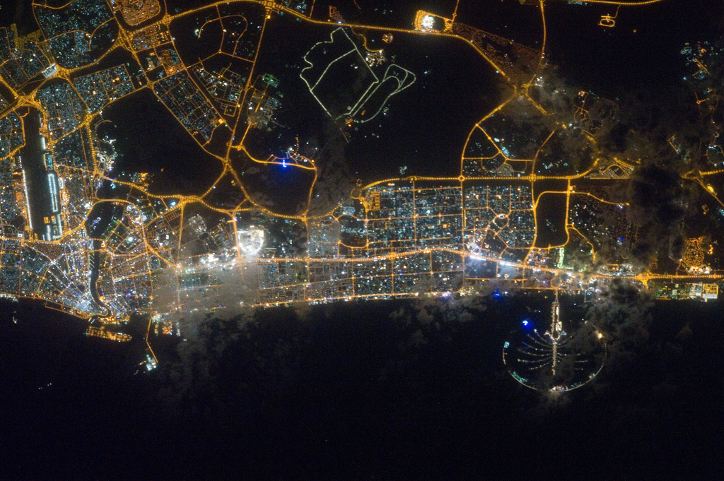 Dazzling City Lights of Dubai Seen From Space