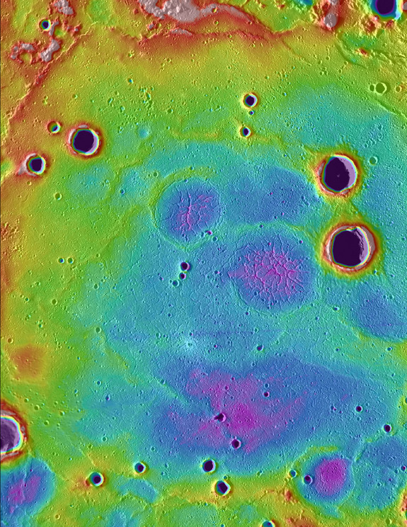 Ancient volcanic plains in the northern high latitudes of Mercury revealed by NASA's Messenger spacecraft. Purple colors are low and white is high, spanning a range of about 1 km. Width of area spans about 250 km.
