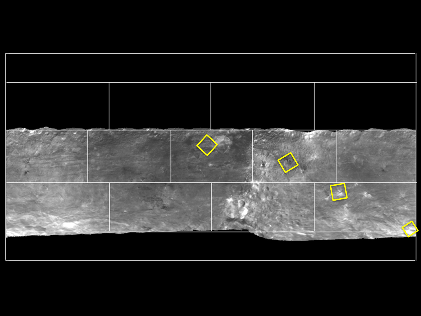 Map of Bright Areas on Asteroid Vesta