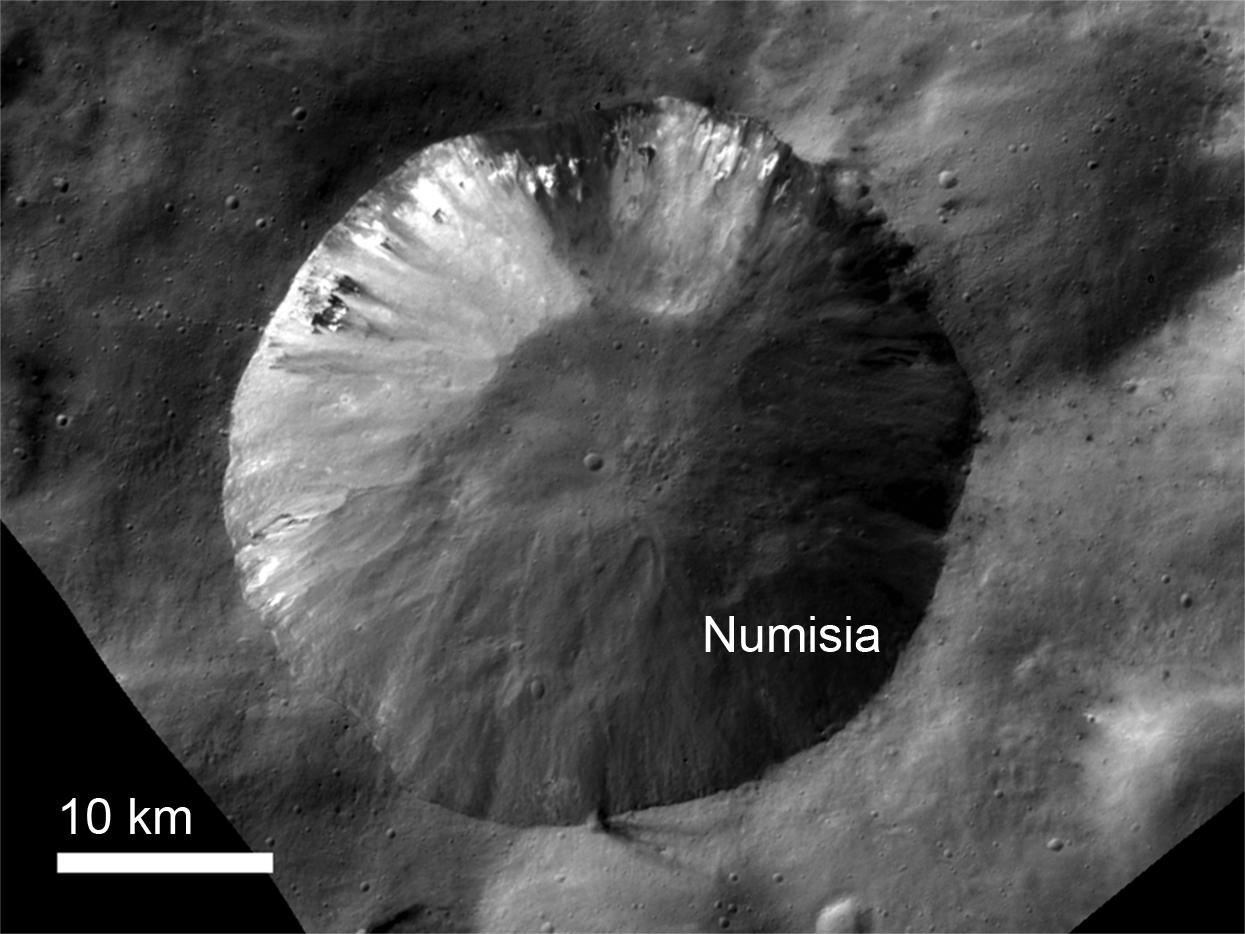 Bright Material at Numisia Crater