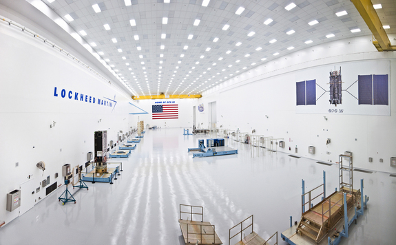 A look at the 50,000 square feet of spacecraft assembly and test area, which includes a clean room high bay and dedicated test chambers for the GPS 3 program.