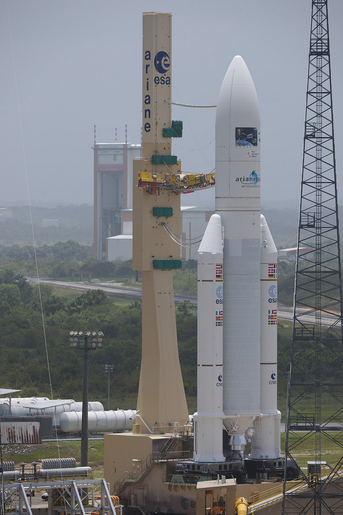 ATV-3 and Ariane 5 Rocket Roll to the Launch Pad