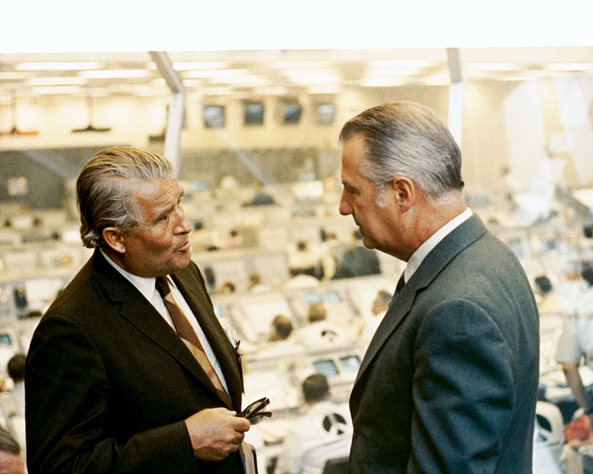 Vice President Agnew & Dr. Von Braun Talk After Apollo 16 Liftoff