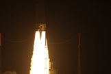 An Ariane 5 rocket carrying the European Space Agency's ATV-3 cargo ship Edoardo Amaldi lights up the night after a dazzling liftoff just after 12 a.m. EDT from Guiana Space Center in Kourou, French Guiana.