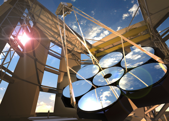 An artist's illustration of the completed Giant Magellan Telescope atop Las Campanas Peak in Chile's Atacama Desert. The 80-foot (24.5-meter) telescope will consist of seven primary mirrors and feature an advanced adaptive optics system. It will be one of the largest on Earth when it's up and running in 2020.