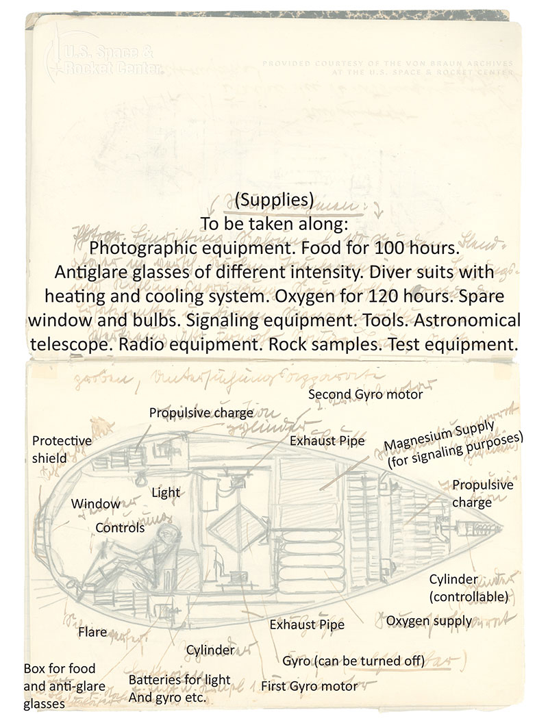 Wernher von Braun's Boyhood Notebook Page