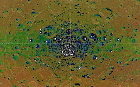 The highest-resolution radar image of Mercury's south polar region made from the Arecibo Observatory (Harmon et al., Icarus, 211, 37-50, 2011) is shown in white on MESSENGER orbital images colorized by the illumination map. Radar-bright features in the Arecibo image all collocate with areas mapped as in permanent shadow, consistent with the proposal that radar-bright materials contain water ice.