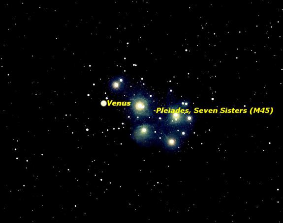 Sky map of Venus on April 3, 2012.