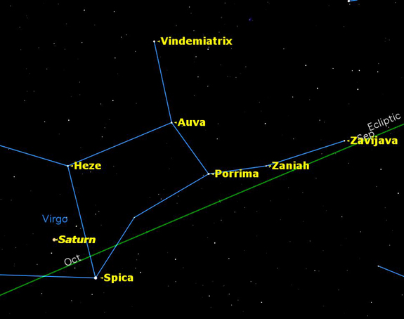 Saturn at opposition sky map, April 15, 2012.