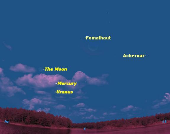 Mercury at greatest elongation sky map, April 18, 2012.
